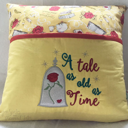 Beauty and the Beast Rose Tale as old as time Reading cushion