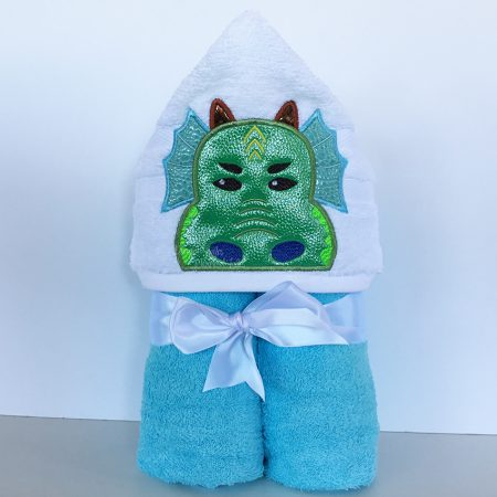 Blue Green Aqua Dragon Hooded Towel