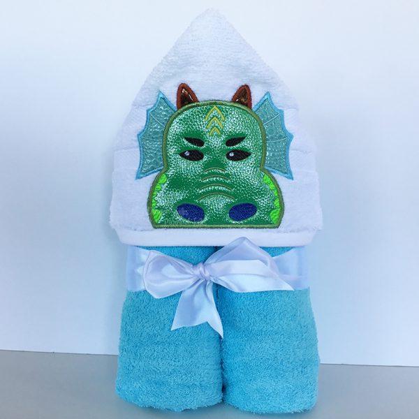 Blue Green Aqua Dragon Hooded Towel