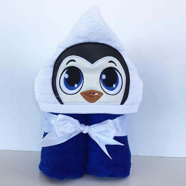 Blue Boy Baby Penguin Hooded Towel