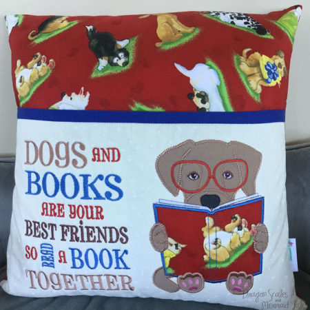 Puppy Dog with Glasses Reading Cushion