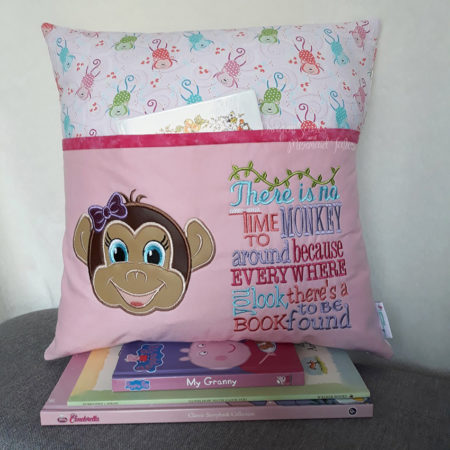 Girl Monkey Reading Cushion