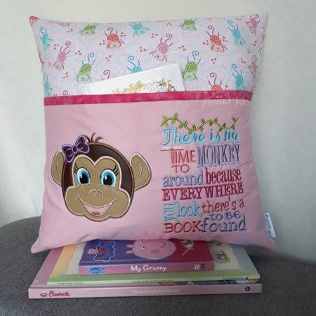 Girl Monkey Reading Cushion