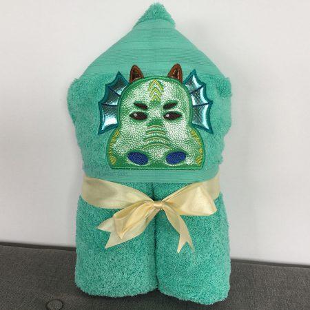 Green Aqua Dragon Hooded Towel