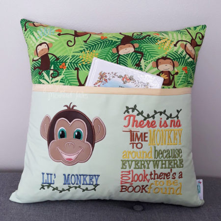 Monkey Boy Reading Cushion