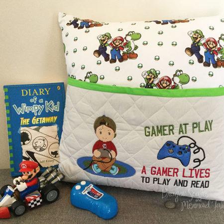 Mario Kart Gamer Boy Reading Cushion