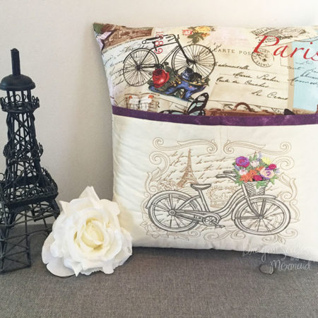 paris bike reading cushion