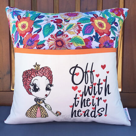 queen of hearts reading cushion pocket pillow
