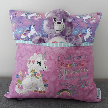 Rainbow unicorn reading cushion