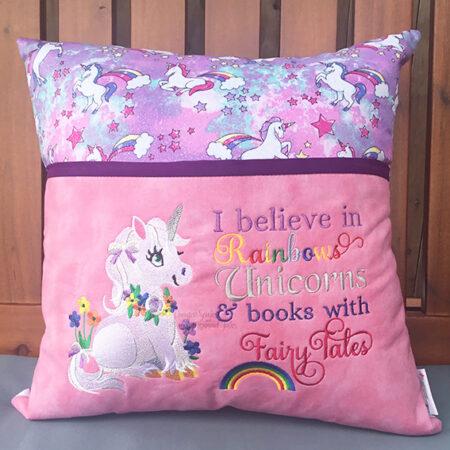 Rainbow Unicorn reading cushion pocket pillow