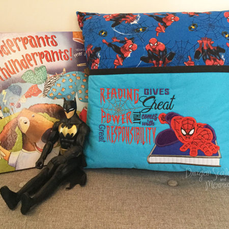 Spiderman reading cushion