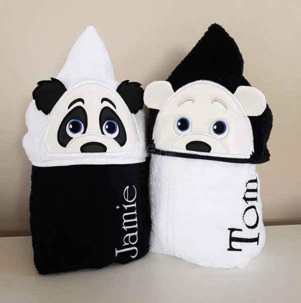 panda polar bear hooded towel twins