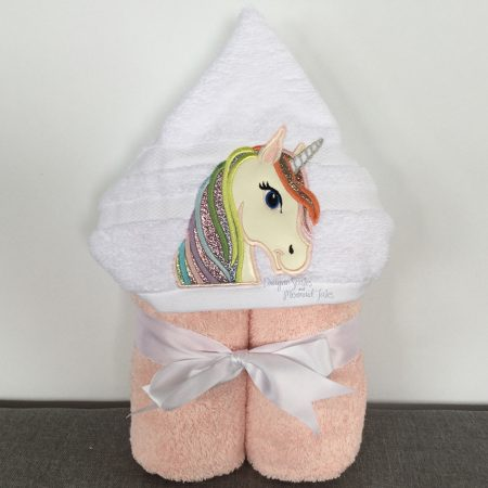 Pink Glitter Unicorn Hooded Towel