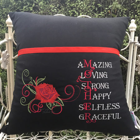 Black red rose mother reading cushion