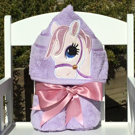 Sparkle pony glitter pink horse girl hooded towel