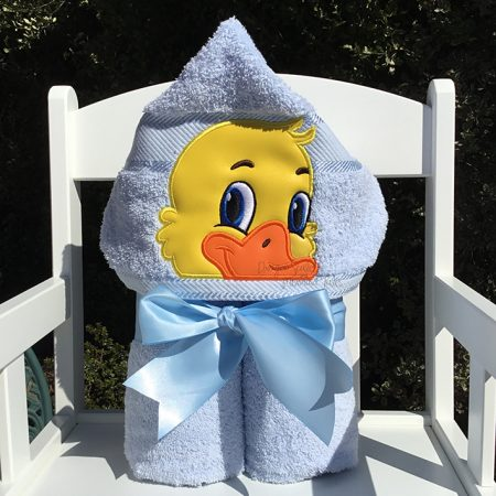 boy blue duck hooded towel baby shower gift