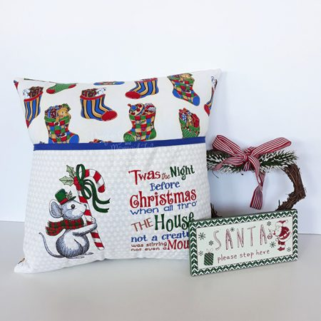 twas the night before christmas mouse candy cane christmas reading cushion