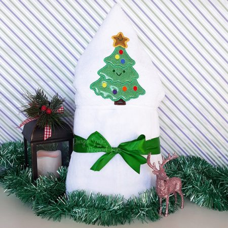 christmas xmas tree hooded towel