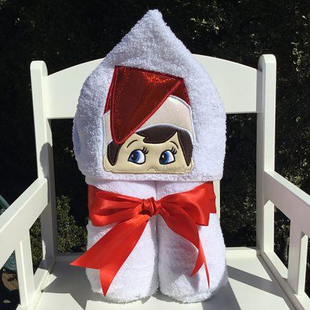 elf in the shelf red hooded towel