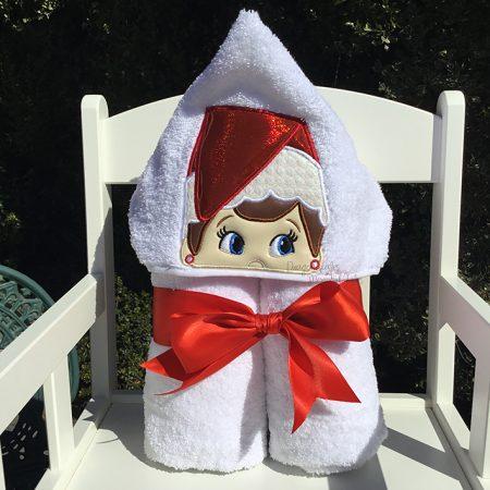 elf on the shelf girl red hooded towel