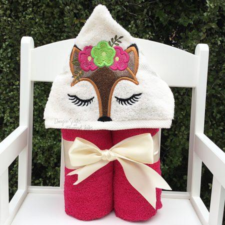 flower fox girl pretty pink hooded towel