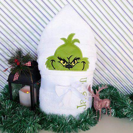 grinch hooded towel