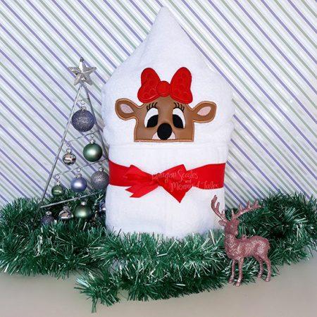 girl lady reindeer christmas hooded towel