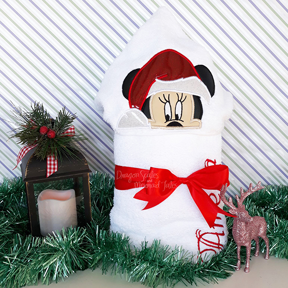 minnie mouse christmas hooded towel