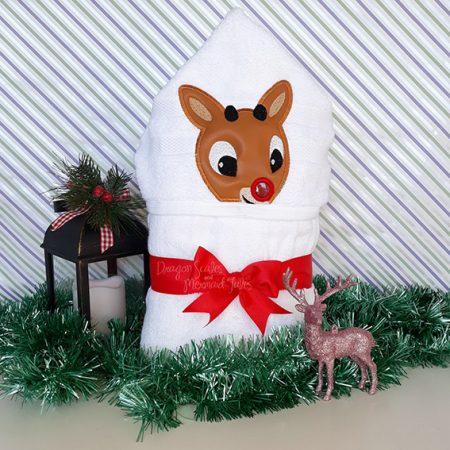 rudolph boy reindeer christmas hooded towel