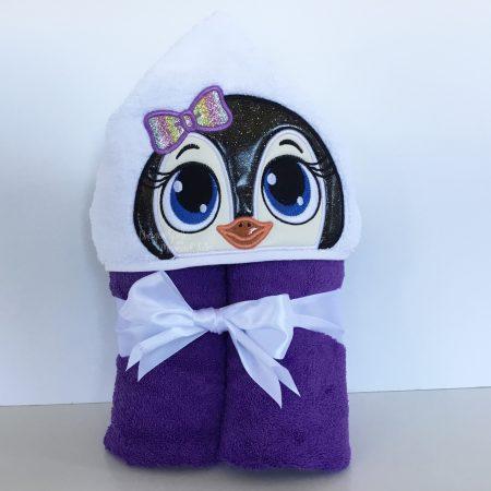 Girl penguin baby shower hooded towel