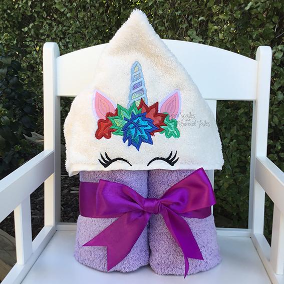 autumn leaves unicorn purple hooded towel