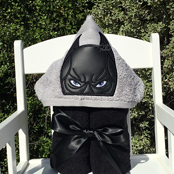 batman grey hooded towel