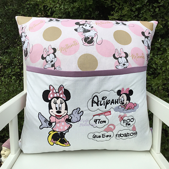 Minnie Mouse baby girl details reading cushion pocket pillow