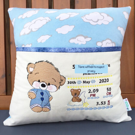 baby teddy birth details reading cushion pocket pillow