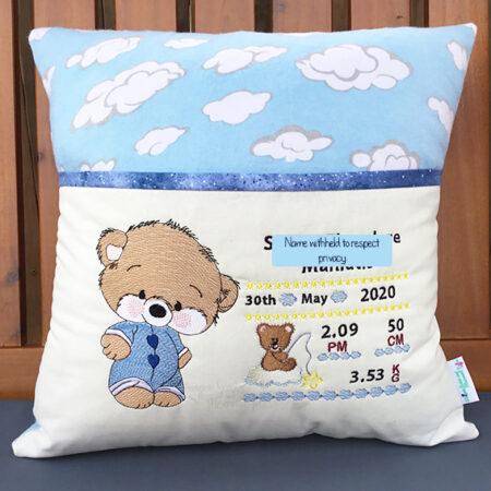baby teddy birth details reading cushion pocket pillow