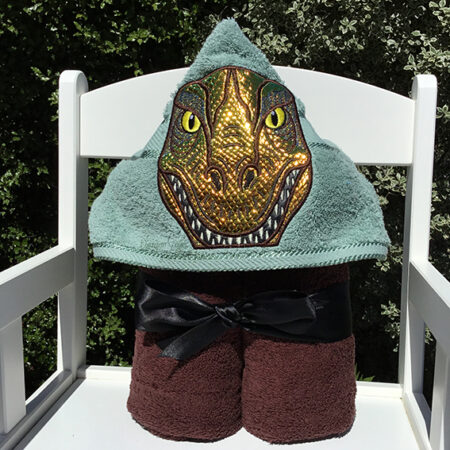 green shiny velociraptor hooded towel