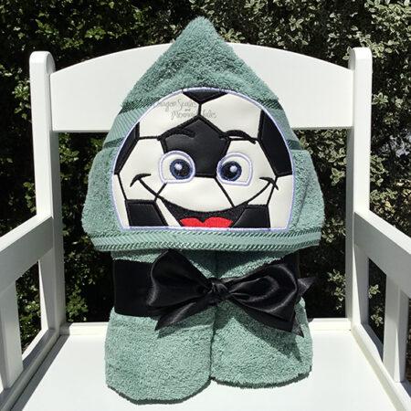 soccer ball green hooded towel