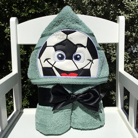 soccer ball green hooded towel