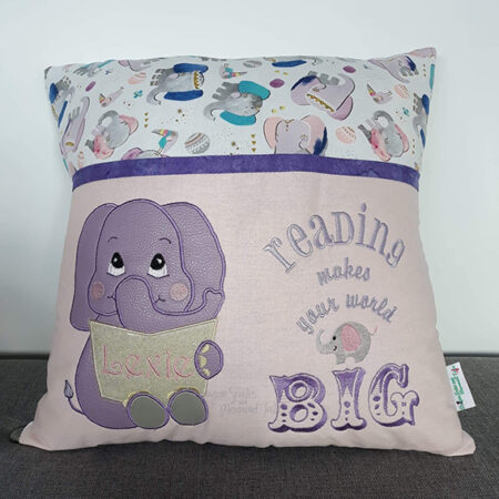 pink elephant reading cushion pocket pillow