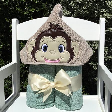 cheeky monkey baby hooded towel