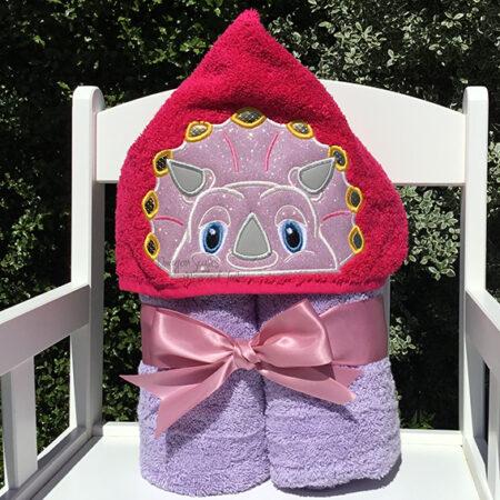 Triceratops Dinosaur pink purple hooded towel