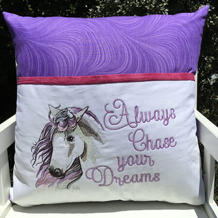 Horse chase your dreams reading cushion pocket pillow