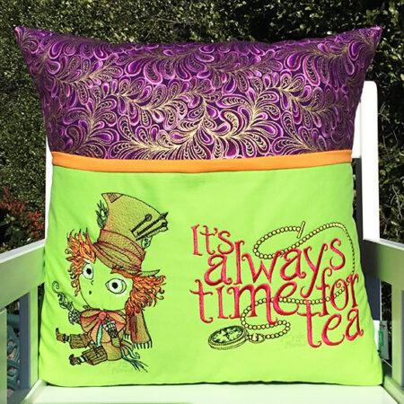 mad hatter alice in wonderland reading cushion pocket pillow