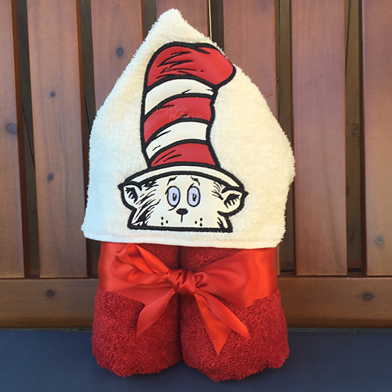 Dr Seuss cat in the hat hooded towel
