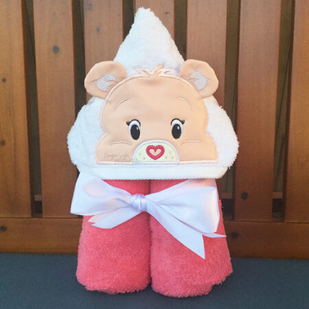 pink care bear rainbow sunshine hooded towel
