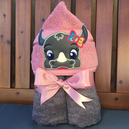 Girl pink rhino rhinoceros hooded towel