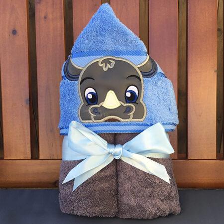 Blue rhino rhinoceros hooded towel