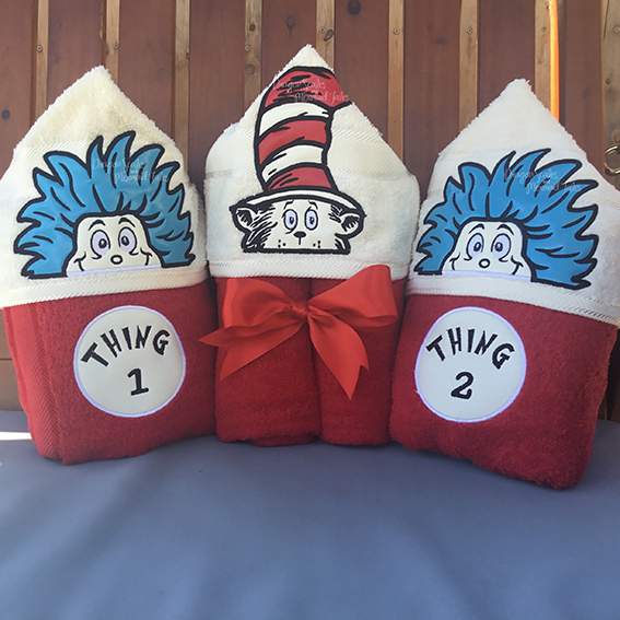 cat in the hat thing one and thing two dr seuss hooded towel