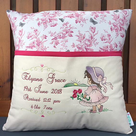 pretty little girl birth details reading cushion pocket pillow