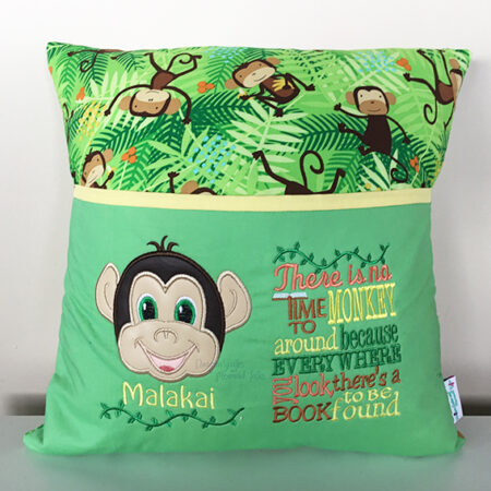 boy monkey green reading cushion pocket pillow